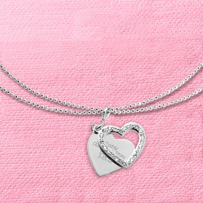 "Pave Swing Heart Charm 40"" Necklace with complimentary Filigree Keepsake Box"