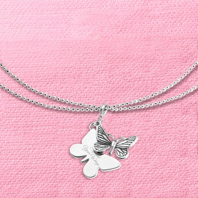 "Butterfly Charm 40"" Necklace with complimentary Filigree Keepsake Box"