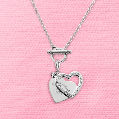 Pave Swing Heart Charm Toggle Necklace with complimentary Filigree Keepsake Box