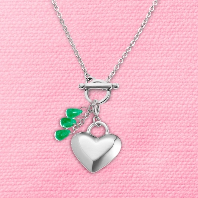 Heart Birthstone Charm Toggle Necklace with complimentary Filigree Keepsake Box