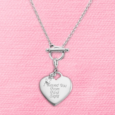 Heart Charm Toggle Necklace with complimentary Filigree Keepsake Box