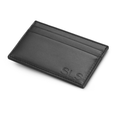 Engraved Leather Money Clip Card Holder