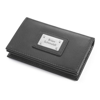 Leather Card Case with complimentary Engravable Red Secret Message Card