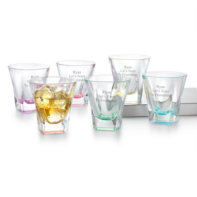 Fusion Set of 6 Colored Double Old Fashioned Glasses