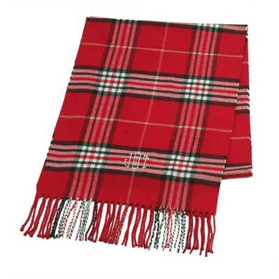 Comfy Red Plaid Scarf - Embroidered Totes & Accessories