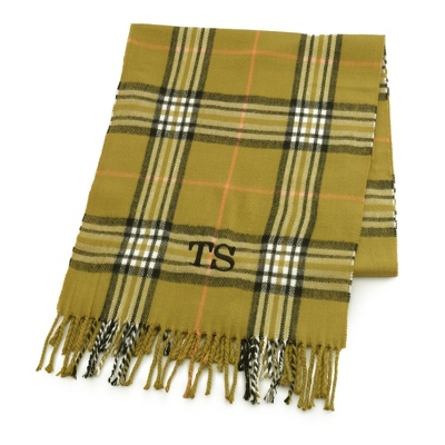 Comfy Olive Plaid Scarf - Embroidered Totes & Accessories