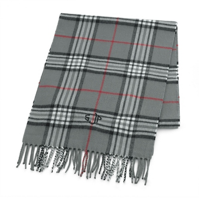 Comfy Grey Plaid Scarf - Embroidered Totes & Accessories