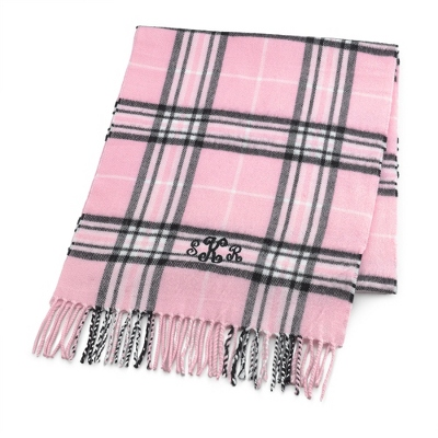 Comfy Pink Plaid Scarf - Embroidered Totes & Accessories