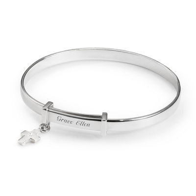 Sterling Girl's Kit Heath Cross Bangle with complimentary Filigree Heart Box - Sterling Silver Women's Jewelry