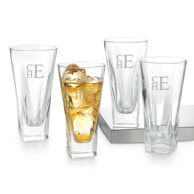 Set of 4 Fusion High Ball Glasses with Monogram