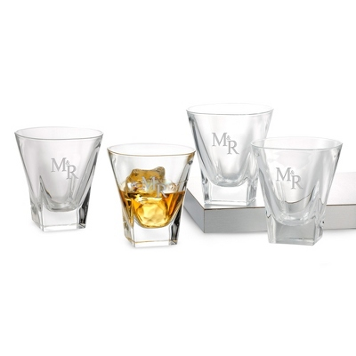 Set of 4 Fusion Double Old Fashioned Glasses with Monogram - Barware & Accessories