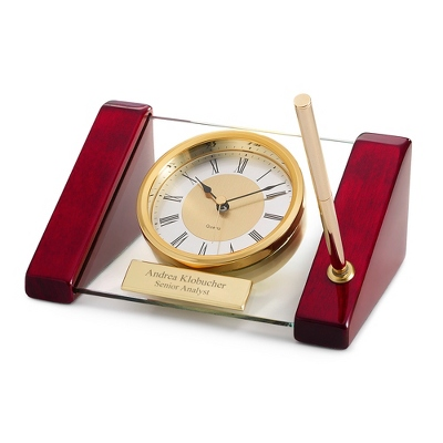 Glass/Wood Desk Clock with Pen - Business Clocks