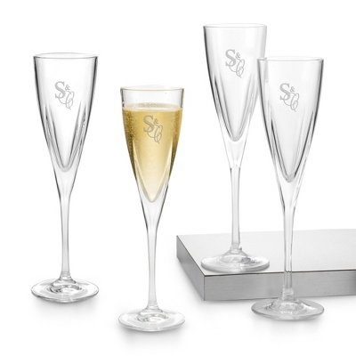 Set of 4 Fusion Flutes with Monogram - Barware & Accessories