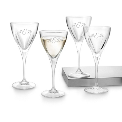 Set of 4 Fusion Wine Glasses with Monogram - Barware & Accessories