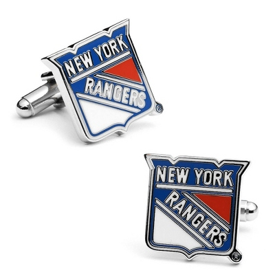 New York Rangers Cuff Links with complimentary Weave Texture Valet Box