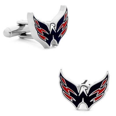 Washington Capitals Cuff Links with complimentary Weave Texture Valet Box - Tie Bars & Cuff Links