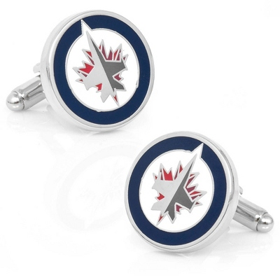 Winnipeg Jets Cuff Links with complimentary Weave Texture Valet Box - Tie Bars & Cuff Links