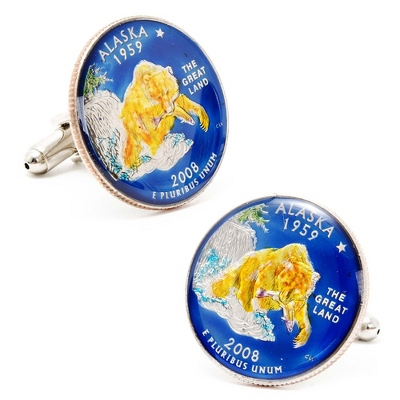 Alaska Hand-painted State Quarter Cuff Links with complimentary Weave Texture Valet Box - Men's Jewelry