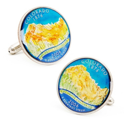 Colorado Hand-painted State Quarter Cuff Links with complimentary Weave Texture Valet Box