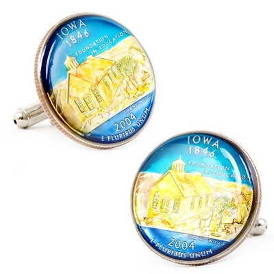 Iowa Hand-painted State Quarter Cuff Links with complimentary Weave Texture Valet Box