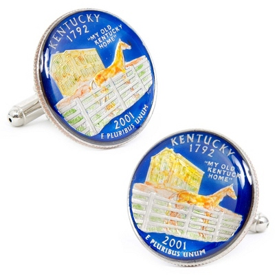 Kentucky Hand-painted State Quarter Cuff Links with complimentary Weave Texture Valet Box - Men's Jewelry
