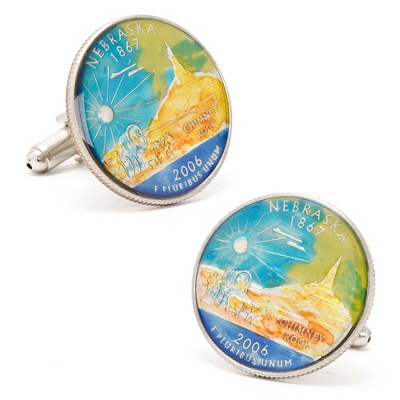 Nebraska Hand-painted State Quarter Cuff Links with complimentary Weave Texture Valet Box