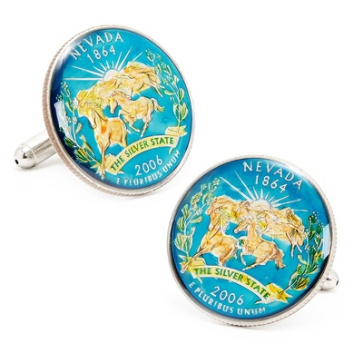 Nevada Hand-painted State Quarter Cuff Links with complimentary Weave Texture Valet Box