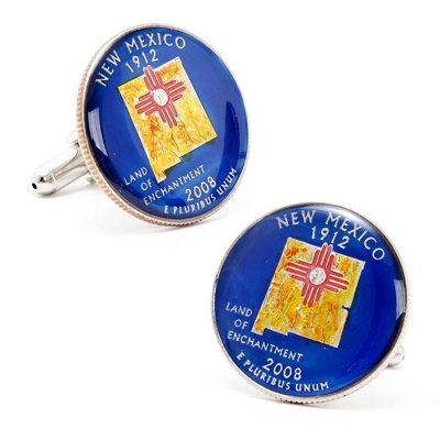 New Mexico Hand-painted State Quarter Cuff Links with complimentary Weave Texture Valet Box