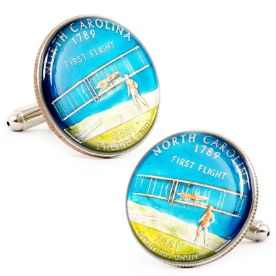 North Carolina Hand-painted State Quarter Cuff Links with complimentary Weave Texture Valet Box