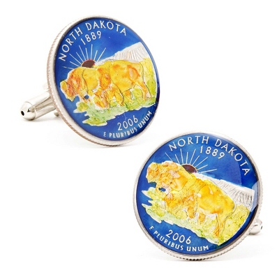 North Dakota Hand-painted State Quarter Cuff Links with complimentary Weave Texture Valet Box