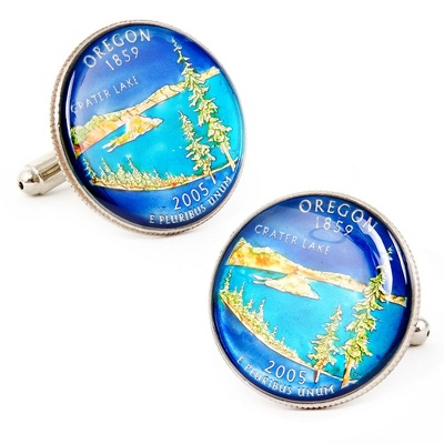 Oregon Hand-painted State Quarter Cuff Links with complimentary Weave Texture Valet Box