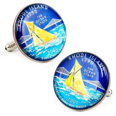 Rhode Island Hand-painted State Quarter Cuff Links with complimentary Weave Texture Valet Box
