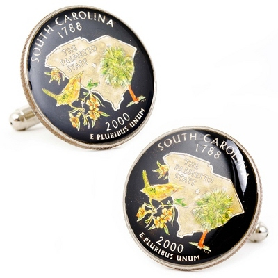 South Carolina Hand-painted State Quarter Cuff Links with complimentary Weave Texture Valet Box