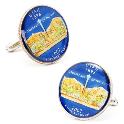 Utah Hand-painted State Quarter Cuff Links with complimentary Weave Texture Valet Box - Men's Jewelry