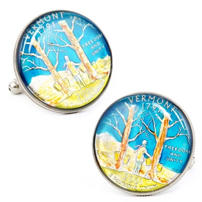 Vermont Hand-painted State Quarter Cuff Links with complimentary Weave Texture Valet Box - Men's Jewelry