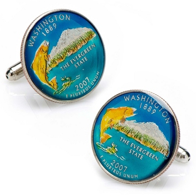 Washington Hand-painted State Quarter Cuff Links with complimentary Weave Texture Valet Box - Men's Jewelry