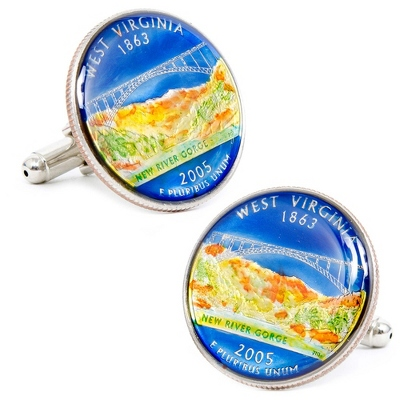 West Virginia Hand-painted State Quarter Cuff Links with complimentary Weave Texture Valet Box