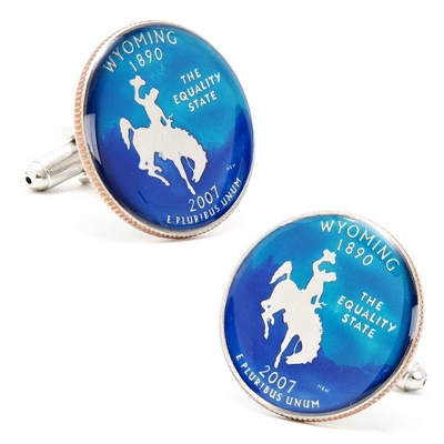 Wyoming Hand-painted State Quarter Cuff Links with complimentary Weave Texture Valet Box