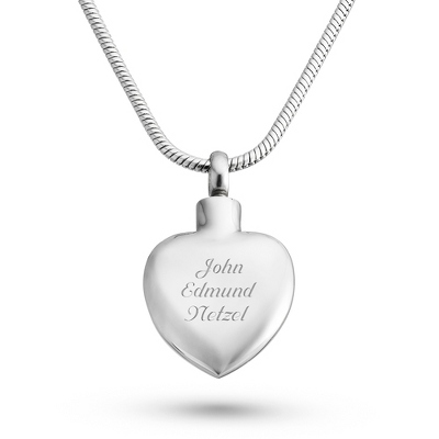 Memorial Heart Urn Necklace with complimentary Filigree Keepsake Box - UPC 825008304475