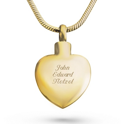 Memorial Gold Heart Urn Necklace with complimentary Filigree Keepsake Box