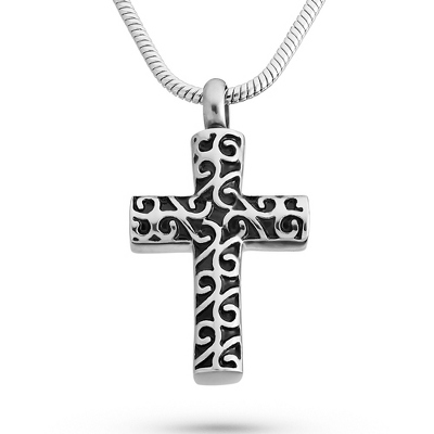 Memorial Cross Urn Necklace with complimentary Filigree Keepsake Box - UPC 825008304505