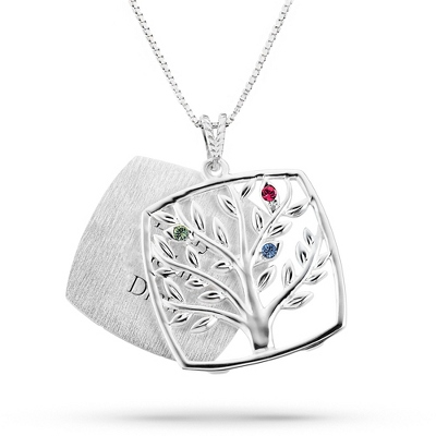 Sterling Mother's Love 3 Birthstone Family Tree Necklace with complimentary Filigree Keepsake Box
