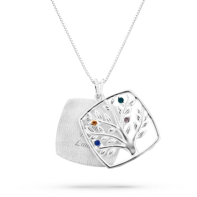 Sterling Mother's Love 4 Birthstone Family Tree Necklace with complimentary Filigree Keepsake Box