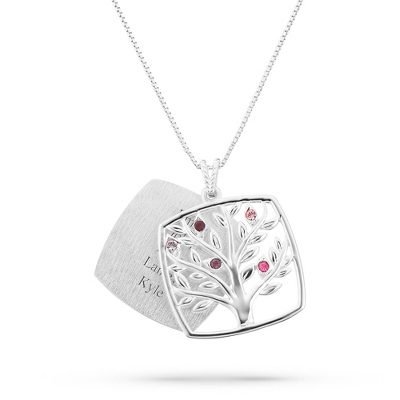 Sterling Mother's Love 5 Birthstone Family Tree Necklace with complimentary Filigree Keepsake Box