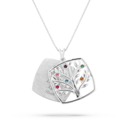 Sterling Mother's Love 6 Birthstone Family Tree Necklace with complimentary Filigree Keepsake Box - Sterling Silver Necklaces