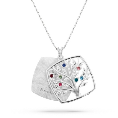 Sterling Mother's Love 7 Birthstone Family Tree Necklace with complimentary Filigree Keepsake Box