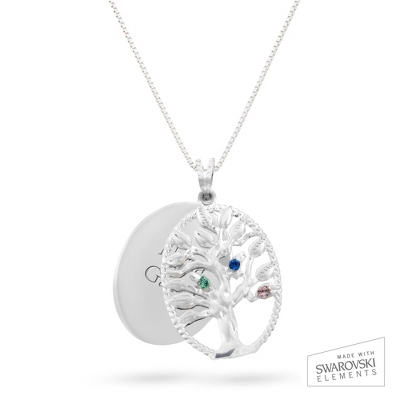 Sterling Oval Legacy 3 Birthstone Family Tree Necklace with complimentary Filigree Keepsake Box