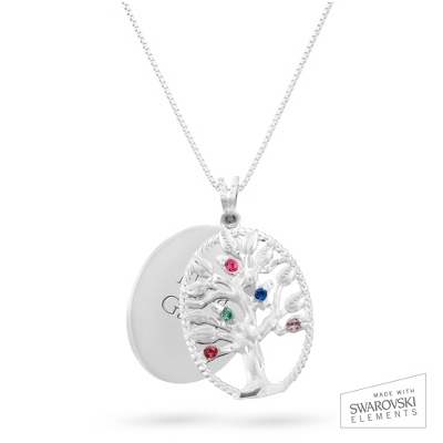 Sterling Oval Legacy 5 Birthstone Family Tree Necklace with complimentary Filigree Keepsake Box - UPC 825008304581