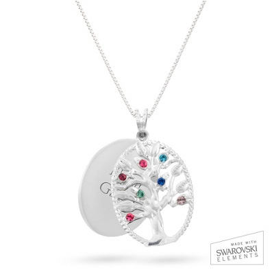 Sterling Oval Legacy 7 Birthstone Family Tree Necklace with complimentary Filigree Keepsake Box