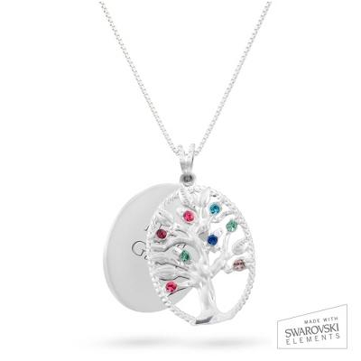 Sterling Oval Legacy 8 Birthstone Family Tree Necklace with complimentary Filigree Keepsake Box